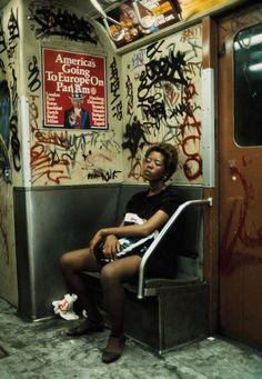 Subway rider on Lexington Avenue Line  (New York City, 1983) by Thomas Hoepker