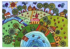Dombok között Painting For Kids, Art For Kids, Wal Art, Building Art, Creative Art, Painted Rocks, Coloring Pages, Whimsical, Doodles