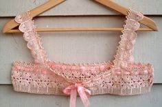 Antique Crocheted Chemise Top Pink Silk by Lachellybelly on Etsy  $28. SOLD!