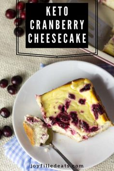 Cranberry Swirl Cheesecake Bars. With a beautiful cranberry swirl and a creamy filling, they will be the hit of your dessert table. This easy recipe is low carb, keto, gluten-free, grain-free, sugar-free, and Trim Healthy Mama friendly.