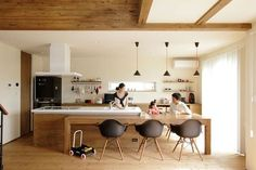 Japanese people architectural design is steeped in custom, yet completely contemporary. Kitchen Dinning, Interior Design Kitchen, Home Decor Kitchen, Kitchen Room Design, Kitchen Interior, Home Kitchens, Cheap Living Room Decor, Kitchen Room, Kitchen Remodel