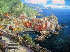 """Vernazza, Italy by Sam Park Park Art, City Scene, Art Impressions, Gif Animé, Paintings For Sale, Art Paintings, Artist Painting, Beautiful Landscapes, Landscape Paintings"