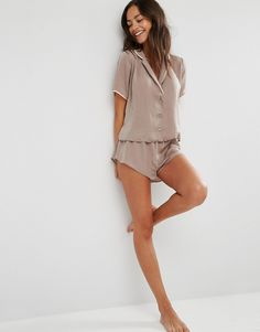 Image 4 of ASOS Miley Satin Piped Pajama Top & Short Set