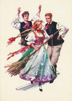 Vintage Stuff and Antique Designs Folk Costume, Costumes, Polish Folk Art, Folk Clothing, Wow Art, Illustration Sketches, Europe, Vintage Postcards, People Of The World