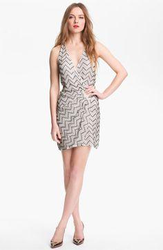 Parker 'Duet' Beaded Silk Faux Wrap Dress