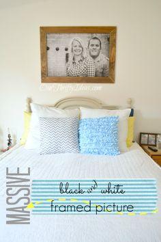 DIY framed massive black and white framed picture for just a few dollars
