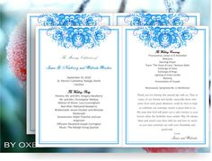 Printable wedding ceremony program template floral blue by Oxee, $5.00