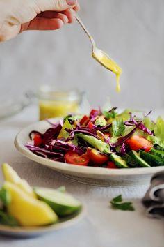 Hydrating Romaine Salad with Mango-Basil Dressing   http://hellonatural.co/hydrating-romaine-salad-with-mango-basil-dressing/