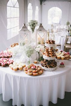 A Romantic Rustic Wedding in Caledon, Ontario - classic wedding dessert display with white lanterns and baby's breath centerpieces - wedding dessert table inspiration Dessert Bar Wedding, Wedding Donuts, Wedding Sweets, Brunch Wedding, Wedding Table, Chic Wedding, Wedding Ideas, Wedding Rustic, Wedding Cakes