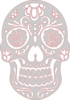 """Mexican Skull stencil- Note Roses and Teeth are """"floaters"""". Sugar Skull Papel Picado pattern Template #scrollsawpatternandprojects #dayofthedead #diadelosmuertos #papercutting #sugarskull #latino on ScrollsawVillage.com"""