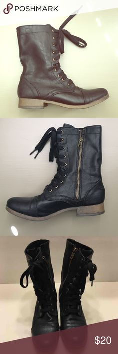 Black moto combat zip up boots Black motorcycle combat lace up zip up boots. Worn once - in excellent condition!! True to size. Mossimo Supply Co. Shoes Combat & Moto Boots