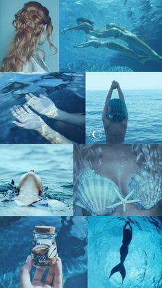 Pieces of a mermaid collage theme >> I love how they used a shot from Mermaid Lagoon, Mermaid Tails, Mermaid Art, Real Mermaids, Mermaids And Mermen, Aesthetic Collage, Blue Aesthetic, Aesthetic Vintage, Sea Witch