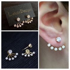Love this earrings! Simple chic ear jacket by LakooDesigns Supernatural Style Diamond Jewelry, Gold Jewelry, Jewelry Accessories, Jewelry Design, Simple Jewelry, Cute Jewelry, Gold Earrings Designs, India Jewelry, Cute Earrings
