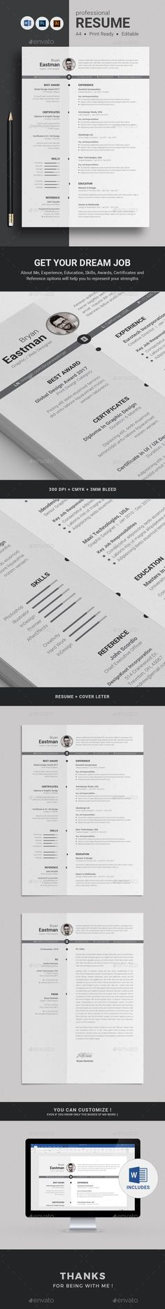 Modern and Super Clean Resume with strong typographic structure is very easy to use and customize.  Resume | CV | simple resume | minimal resume | curriculum vitae | word resume | coverletter | word resume