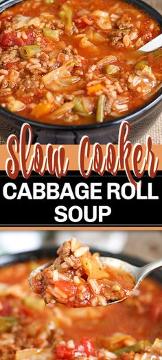 slow cooker recipes This Crock Pot Cabbage Roll Soup is a twist on traditional Cabbage Rolls, for a fraction of the work. With ground beef, cabbage, onion and vegetables; simmered in a rich tomato sauce in your slow cooker. Crock Pot Recipes, Sopa Crock Pot, Easy Soup Recipes, Slow Cooker Recipes, Healthy Recipes, Vegetable Soup Crock Pot, Crock Pot Tomato Sauce Recipe, Beef Crock Pots, Crock Pot Gumbo