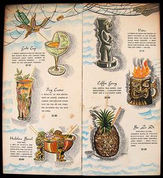 Illustrated tiki drink menu