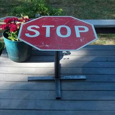 Upcycled STOP sign table!