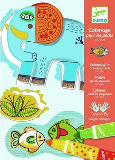 Zoo Zoo;  ¿Tienes un pequeño artista en casa al que le encanta pintar?  Mira qué animales del zoo tan divertidos. Vienen en 6 cartulinas con la figuras pre impresas y ya recortadas: las puede sacar de su hueco y luego volverlas a colocar como si fuera un puzzle. Incluye 4 rotuladores gruesos cuya pintura es inocua y ¡lavable!... En   http://www.opirata.com/zoo-zoo-p-28887.html