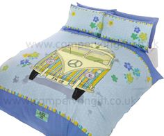 Blue Peace Campervan Duvet and Pillow Case Set - Campervan Gift