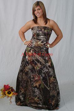pink browing camo wedding- bridesmaid dresses