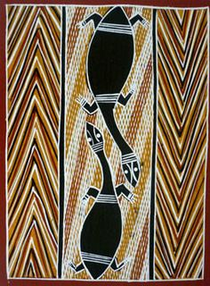 Buy Australian Aboriginal art paintings from Cooee Art Gallery Sydney, Australia's oldest Aboriginal art gallery. Aboriginal paintings, sculptures, artifacts and prints. Aboriginal Art Dot Painting, Aboriginal Artists, Abstract Art, Tribal Animals, Aboriginal Culture, Sand Painting, Painted Leaves, Indigenous Art, Hand Art