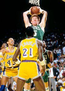 Boston Celtics Bill Walton vs Los Angeles Lakers AC Green, Mychal Thompson, Michael Cooper in the 1987 NBA Finals at the Los Angeles Forum - www.Basketballphoto.com