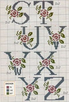 Brilliant Cross Stitch Embroidery Tips Ideas. Mesmerizing Cross Stitch Embroidery Tips Ideas. Cross Stitch Alphabet Patterns, Cross Stitch Letters, Cross Stitch Rose, Cross Stitch Borders, Cross Stitch Charts, Cross Stitch Designs, Cross Stitching, Cross Stitch Embroidery, Stitch Patterns