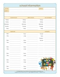 Get Organized for Back-to-School: Information and Contacts   Organized Home