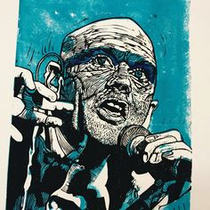 Two colour Lino print of R.E.M. frontman Michael Stipe