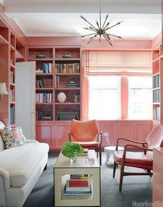 non white bookshelf and love the light fixture! sputnik it.