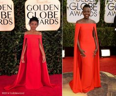 """This mini replica of Lupita Nyong'o's crimson Ralph Lauren creation from the Golden Globes is just as stunning as the real thing. """"I put the pressure on myself and my team of talented women to deliver top quality mirror-image replicas of my favorite picks from the red carpet within 36 hours,"""" Tricia Messeroux says of her work."""