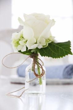 Lovely little bouquet with a white hydrangea.