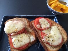 Grandmother's open face tomato sandwiches