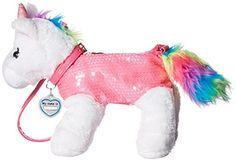 Poochie Rainbow Unicorn Plush Purse with Tail and Mane