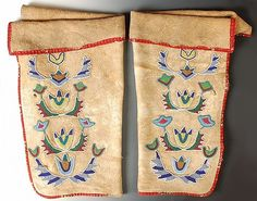 19TH C. BEADED HIDE LEGGINGS ATTRIBUTED Absaroke (CROW) OR METIS