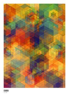 """CUBEN - Digital Grid v1 White"" - A Giclée Print by Simon C Page  #inprnt #print #art #Illustration $20.00"