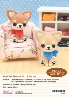 Needle Felting Craft Kit Use Wool Felt to Shiba Inu  --- English Material Kit (English / For Beginner)