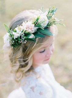 flower girl floral crown - photo by Austin Gros http://ruffledblog.com/elegant-nashville-fall-wedding