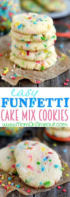 Easy Funfetti Cake Mix Cookies! Perfect for birthdays, picnics, parties and more, these cookies are so easy to make and wonderfully delicious! Made with cream cheese for an extra moist and delightful cookie recipe!   MomOnTimeout.com   #cookie #recipe