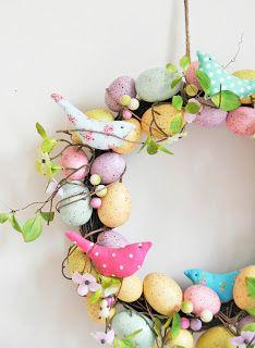 Easter egg wreath with fabric birds - Helen Philipps