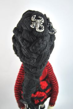 SCORPIO ZODIAC Crochet Art Doll. Closeup of doll hairstyle. She is handmade in free form and originally designed by me. OOAK. She may now be viewed in my Etsy Shop - CreativeChaosMNL