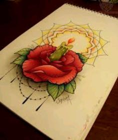 Candle rose tattoo. Love the candle and glow
