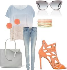 """summer grey and orange 2013"" by petrinap on Polyvore"