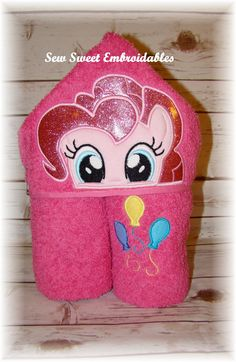 Hey, I found this really awesome Etsy listing at https://www.etsy.com/listing/222443587/pinkie-pie-inspired-hooded-towel-with-or