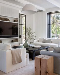 modern living room design // white sofa and armchair // gray sofa // shiplap walls // white pendant light Living Room Modern, Home Living Room, Living Room Furniture, Living Room Designs, Living Room Decor, Living Spaces, Small Living, Cozy Living, Living Room White Walls