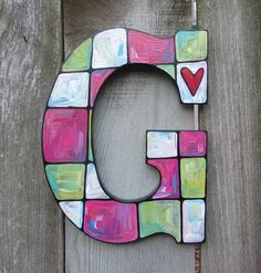 Hand Painted Wood Letter G - Pink, Lime & White. $25.00, via Etsy.