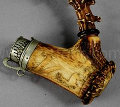 A great carved horn hunters pipe 1860.  It's just Hobbity enough to make it onto my Nerd Board.