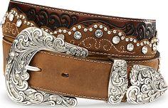 Tony Lama Kaitlyn Crystal Leather Western Belt