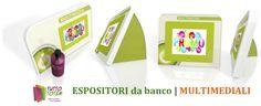 Espositori da banco Multimediale, fatto di materiale ecocompatibile, con Display Digital Frame.