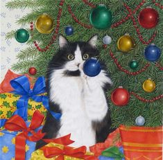 Cat art, Christmas cat art, teddy bear art by renowned award-winning painter and illustrator Anne Mortimer, now available for licensing by Porterfield's Fine Art Licensing. Christmas Kitten, Christmas Animals, Crazy Cat Lady, Crazy Cats, Image Chat, Gatos Cats, Christmas Paintings, Bear Art, White Cats
